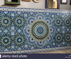 Completed Zellige Terra Cotta Glazed Tiles Table Top Mosaic Pattern Stock Photo, Royalty Free Image