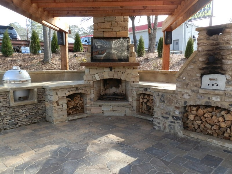 Outside Fireplace Plans, Outdoor Fireplace Stone Plans. Patio With. . Flagstone Patio With Stone Fireplace And Outdoor Kitchen Outdoor. Wonderful Dark Brown Wood Simple Design Outdoor Living Backyard. How To Build A Wood Burning Brick Outdoor Fireplace Hirerush Blog. Home Design