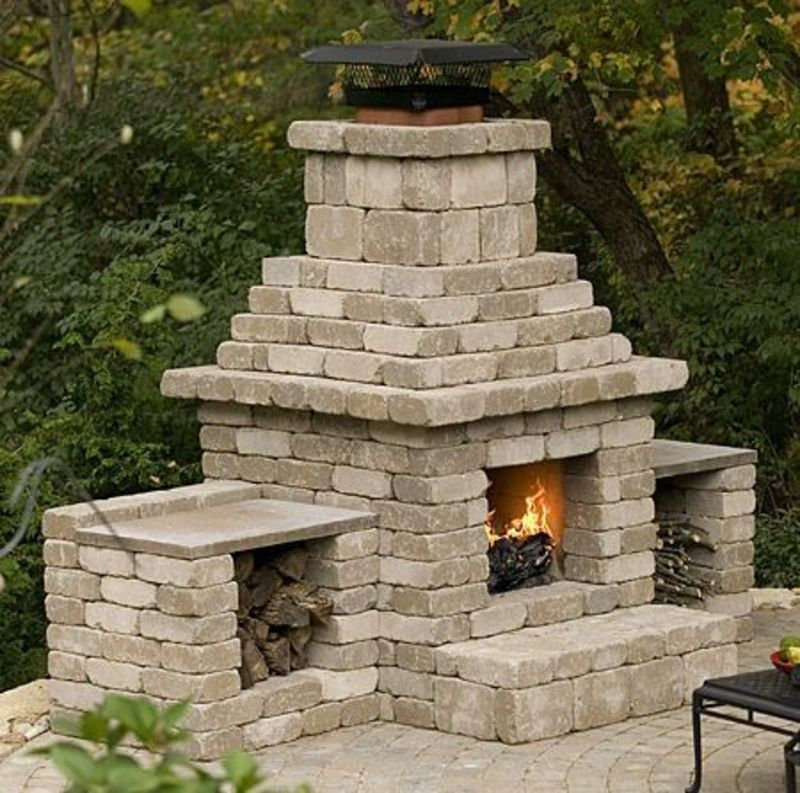 Outside Fireplace Plans, Cinder Block Outdoor Fireplace Plans