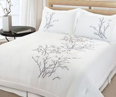 Beautiful 3 Pc White Tree Bird Leaf Modern Quilt Comforter Set Full Queen King