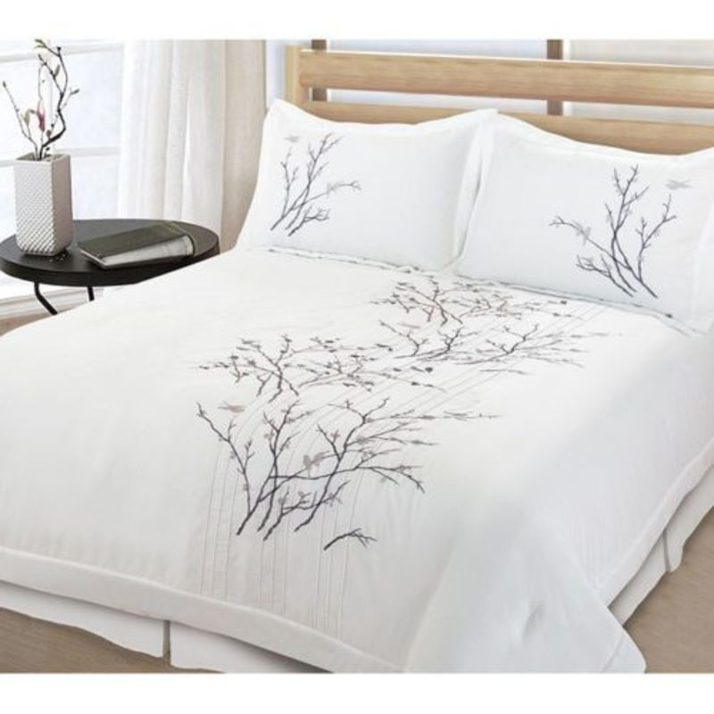 Tree King Comforter Sets, Beautiful 3 Pc White Tree Bird Leaf Modern Quilt Comforter Set Full Queen King