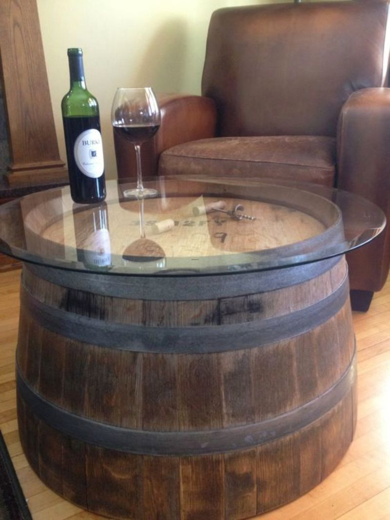 Half Wine Barrels For Sale, Reversible Reclaimed Half Wine Barrel Table With Tempered Glass Top