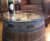 Reversible Reclaimed Half Wine Barrel Table With Tempered Glass Top