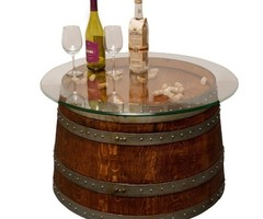 Reclaimed Half Wine Barrel Coffee Table With Glass Top