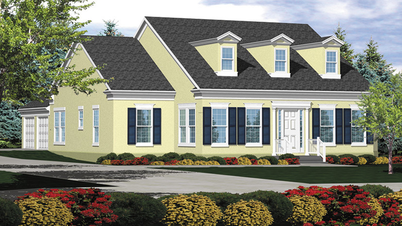Cape Cod Colonial One Story House, Cape Cod Home Plans