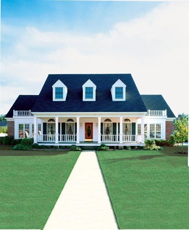 Cape Cod Colonial One Story House, Cape Cod Colonial Country Southern House Plan 98369