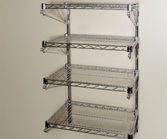 "18""D 4 Shelf Chrome Wire Wall Mounted Shelving Kit"