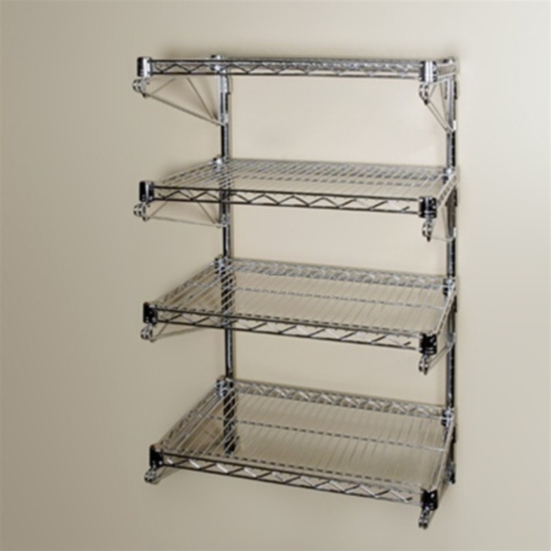 "Wall Mounting Shelves, 18""D 4 Shelf Chrome Wire Wall Mounted Shelving Kit"