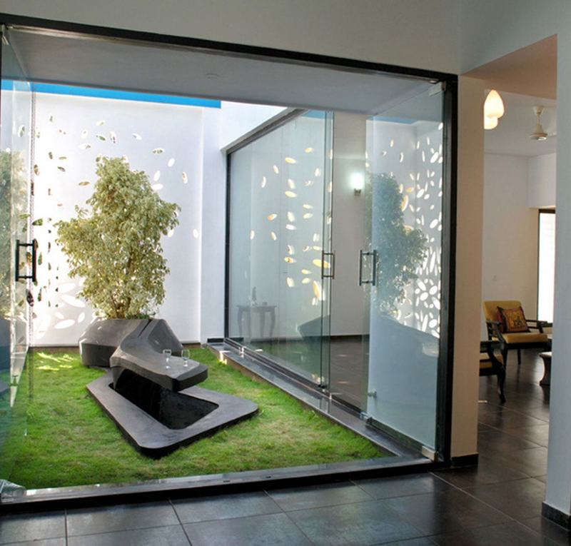 Amazing Home Interior Design, Garden With Modern Glazed Home Interior Designs