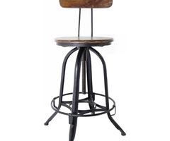 Shabby Varnished Teak Wood Bar Stool Using Black Painted Wrought Iron Stool Legs Of Wood And Metal Bar Stools Design Ideas To Add Rustic And Classic Touch To Your Home And Furniture