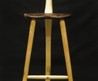 Wooden Stool With Back, Three Legs Legged, Three Wood Rungs In A T, Mortised