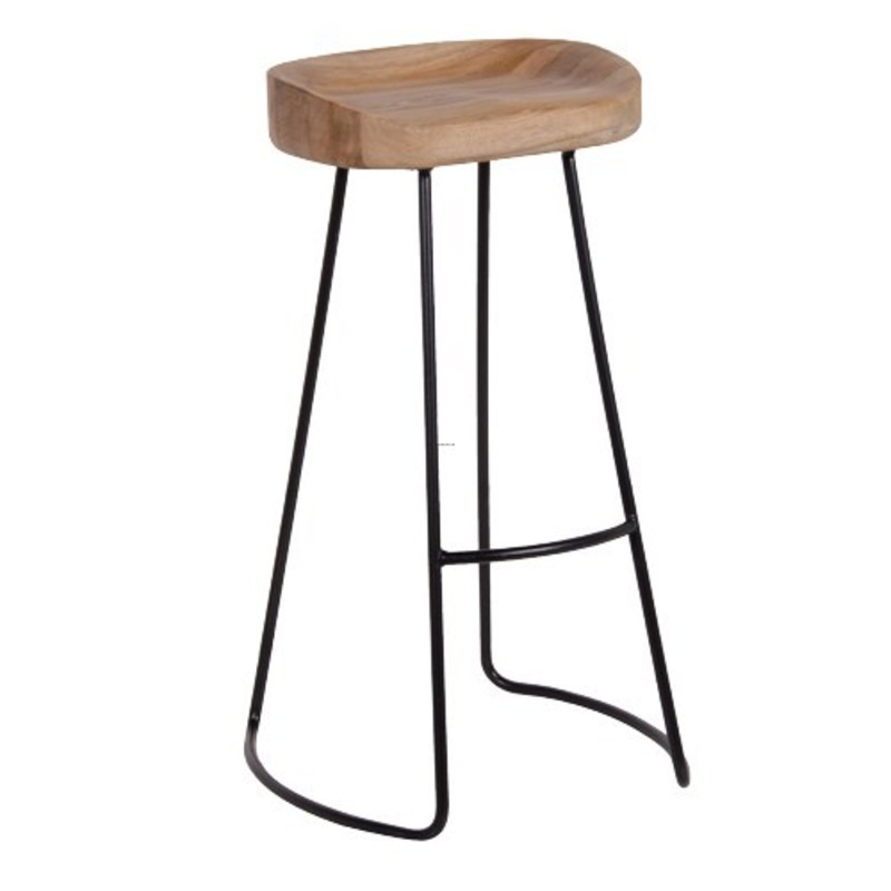 Wooden Bar Stool Legs, Weathered Oak & Metal Bar Stool
