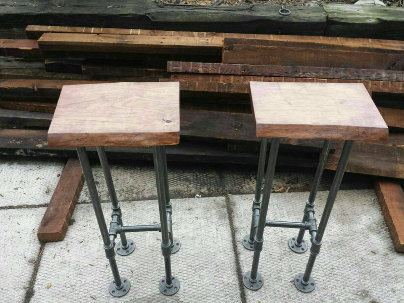 Wooden Bar Stool Legs, Reclaimed Wood Bar Stool With Industrial Pipe Legs  Rustic