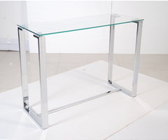 Glass Console Tables With A Sleek Contemporary Feel This Glassed Shelf Consoles Table Provides Both Style And Usability Simple Vase Stylish Glass Console Tables Console Table Design Glass And Metal Console Tables. Glass Sofa Tables. Entry Tables And Conso