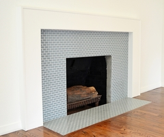 Love This Hex Mosaic Tile Fireplace Surround