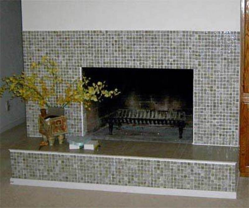 Tile Fireplace Designs, Mosaic Glass Tile Fireplace Surround
