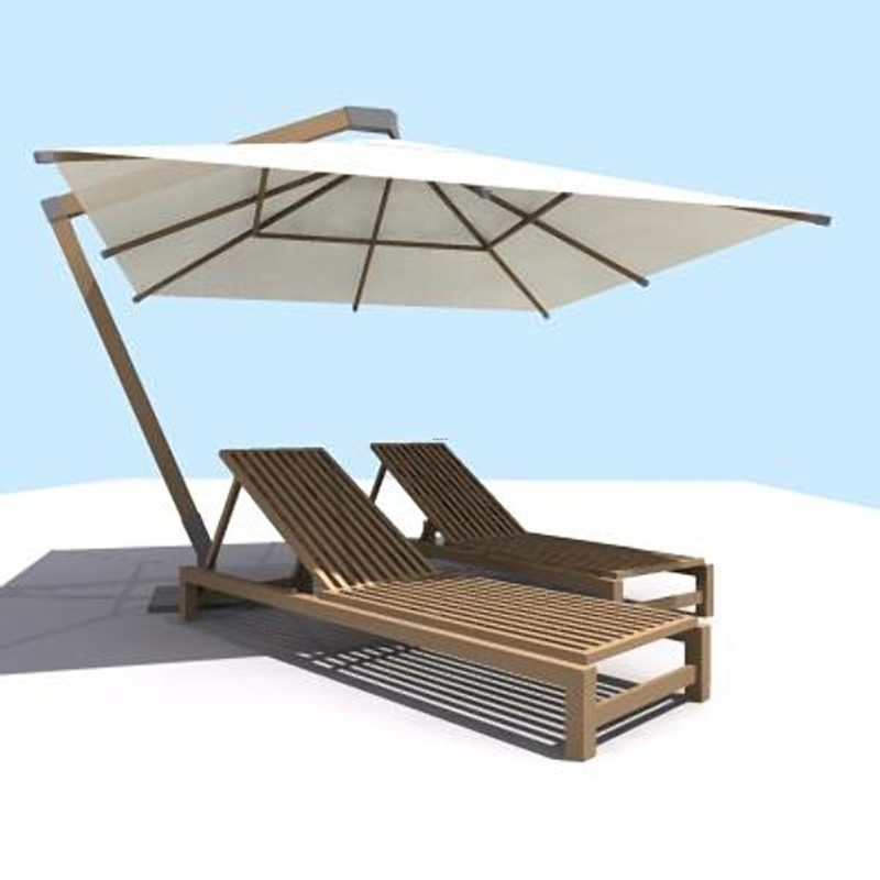 Pool Furniture, Pool Furniture Sun Umbrella 3d Model