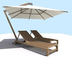 Pool Furniture Sun Umbrella 3d Model