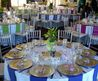 Possibly Neutral Tables (Beige, Tan) With Alternating Fall Colored Napkins (Green, Gold, Orange, Red)