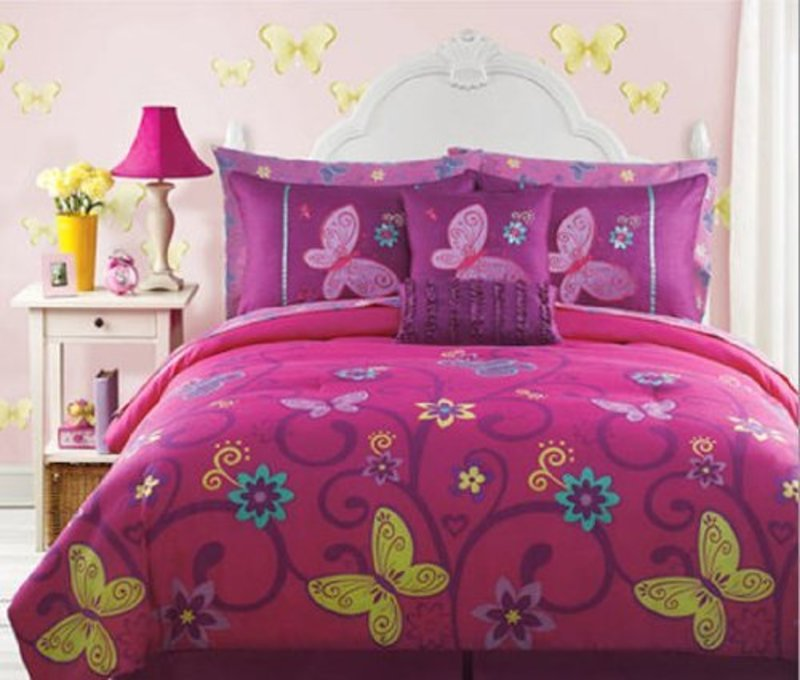 Teen Girl Comforter Sets, Save Pink, Yellow, Teal Butterfly Teen Girls Full Size Comforter Set (10 Piece Bed In A Bag) Shop