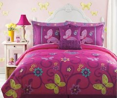 Save Pink, Yellow, Teal Butterfly Teen Girls Full Size Comforter Set (10 Piece Bed In A Bag) Shop