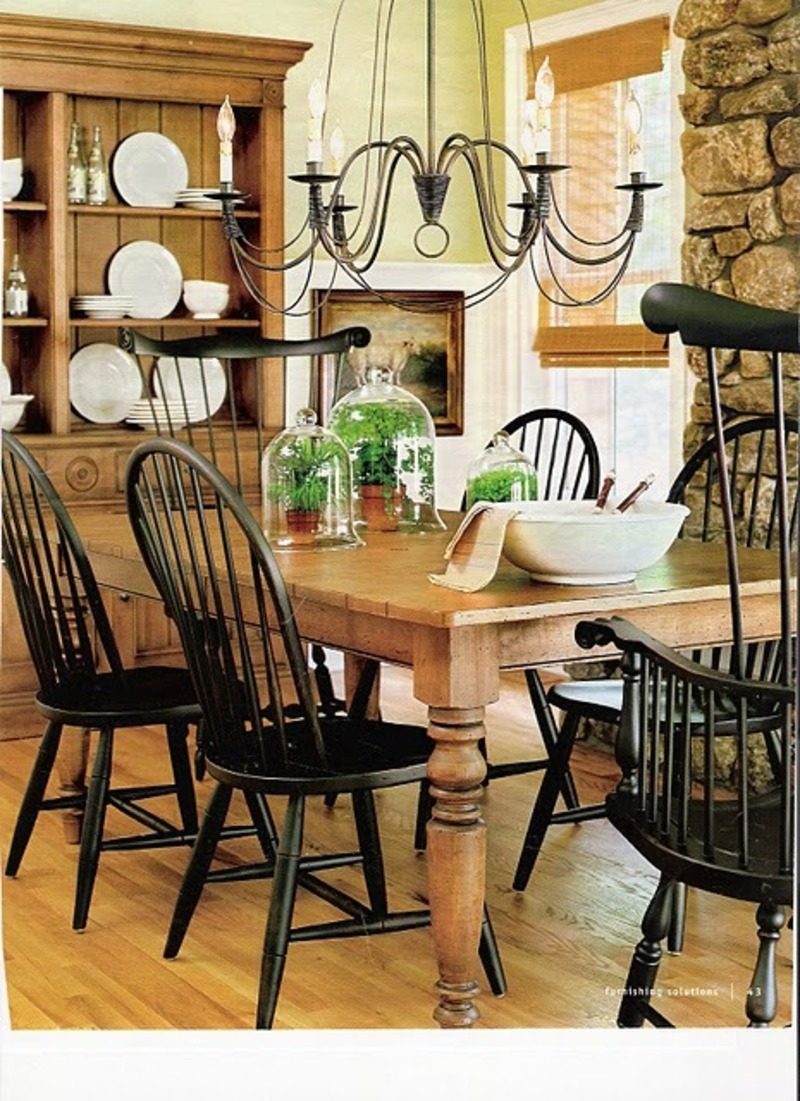 Farmhouse Table And Chairs, Ethan Allen Farmhouse Table And Black Windsor Chairs. Needs Two Slipcovered Or Upholstered Chairs On The End = Perfect.