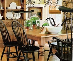 Ethan Allen Farmhouse Table And Black Windsor Chairs. Needs Two Slipcovered Or Upholstered Chairs On The End = Perfect.