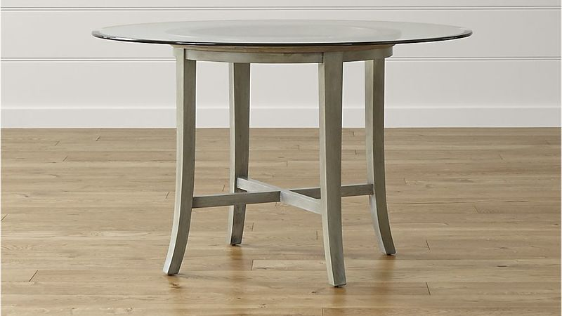 "Round Glass Top Dining Table, Halo Grey Round Dining Table With 48"" Glass Top"