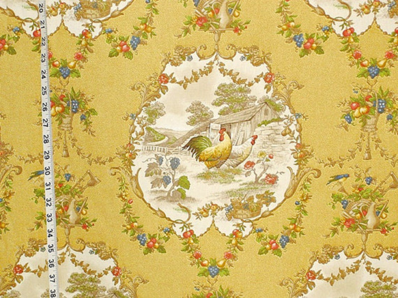 Yellow Rooster Fabric French Country Chicken Toile Interior Home ...