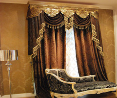 Luxury Europe 2013 Fashion Classical Style Elegant Chenille Silver  Custom Made Curtains With Valances For The Living Room $249.88