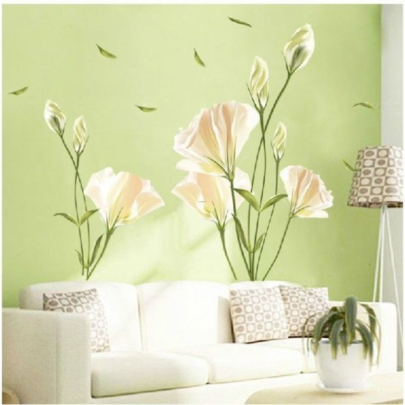 Cheap Fliwet W Ll Art Stickets, Diy Home Decor Art Vinyl Removable Large Wall Stickers White Lily Mural Flower