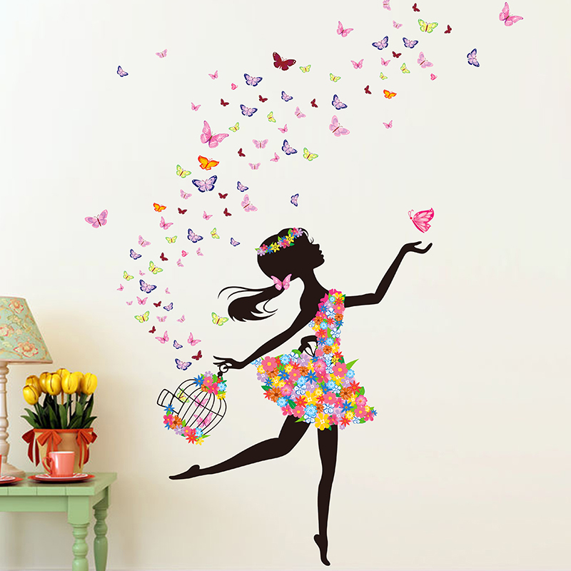 Cheap Fliwet W Ll Art Stickets, Find More Wall Stickers Information About Butterfly Dance Girl Flower Vinyl Wall Sticker Diy Girl Home Decoration Art Decal Poster Stickers For Wal…
