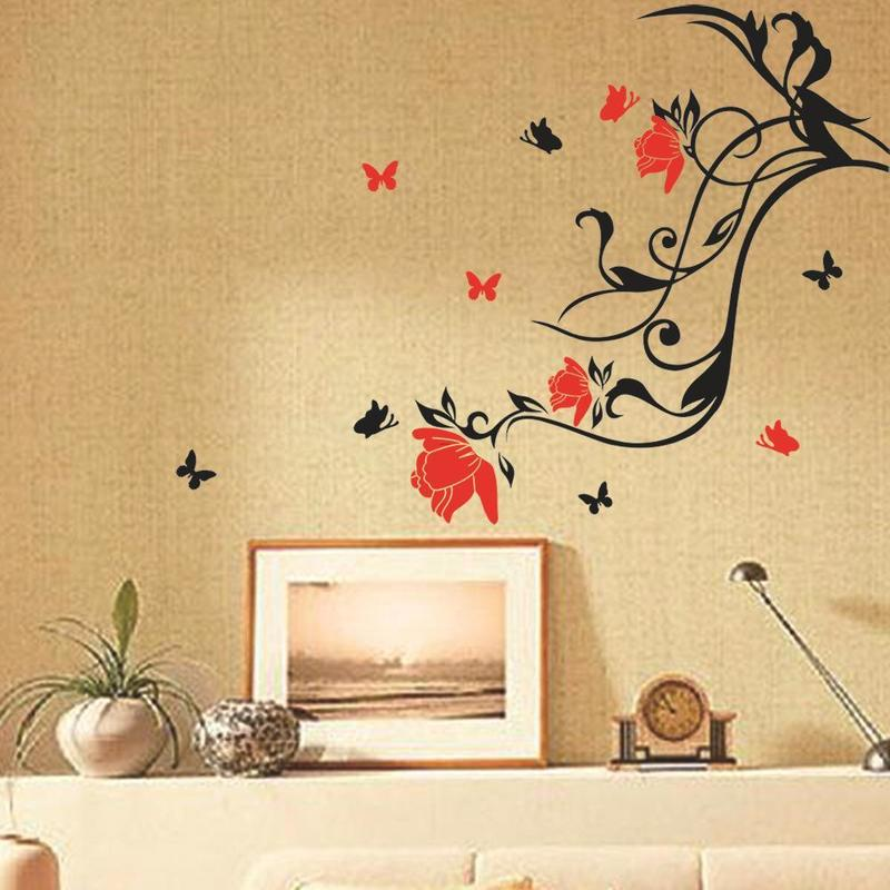 Cheap Fliwet W Ll Art Stickets, Red Flower Black Vine Butterfly Wall Sticker Art Home Decor Removable Wall Paster House Decorative Wall Paster  Flower Butterfly Wall Sticker Flower Vine Paster Diy House Decorative Online With $12.03/Piece On Qwonly Shop's Store
