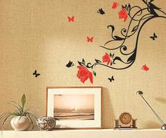 Red Flower Black Vine Butterfly Wall Sticker Art Home Decor Removable Wall Paster House Decorative Wall Paster  Flower Butterfly Wall Sticker Flower Vine Paster Diy House Decorative Online With $12.03/Piece On Qwonly Shop's Store