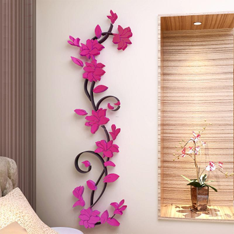 Cheap Fliwet W Ll Art Stickets, 3d Diy Removable Romantic Rose Flower Acrylic Crystal Wall Sticker Home Decor Decal Room Vinyl Art Mural Wall Sticks Wall Tattoos From Huanglina030, $6.89