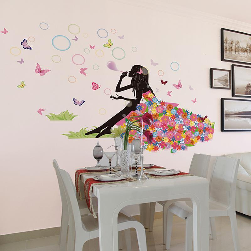 Cheap Fliwet W Ll Art Stickets, Flower Fairy On Grassland Wall Decal Sticker Colorful Dress Girl Wall Art Mural Poster Blowing Bubble Beauty Sofa Headboard Wall Applique Wall Stickers And Decals Wall Stickers Art From Magicforwall, $2.24