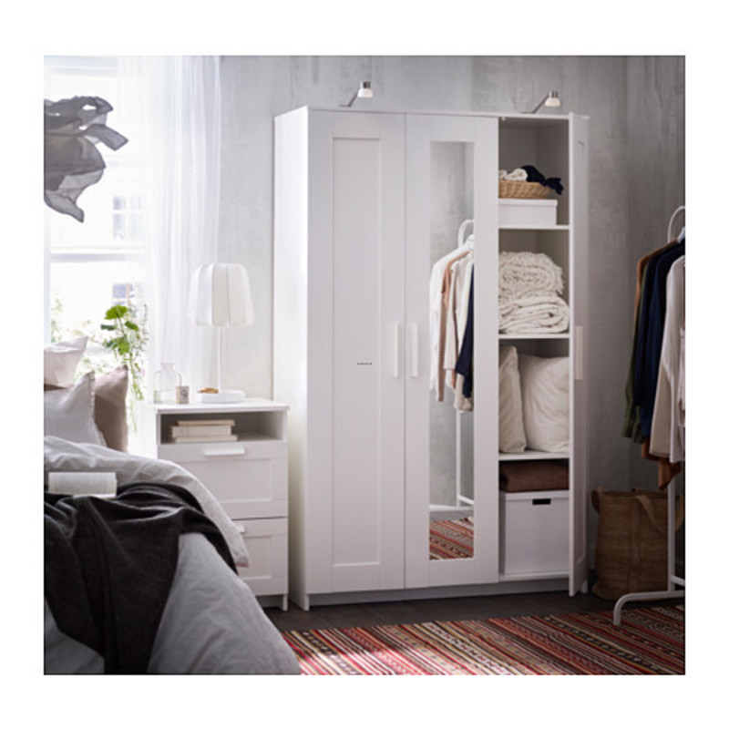 White Wardrobe Closet, Brimnes Wardrobe With 3 Doors