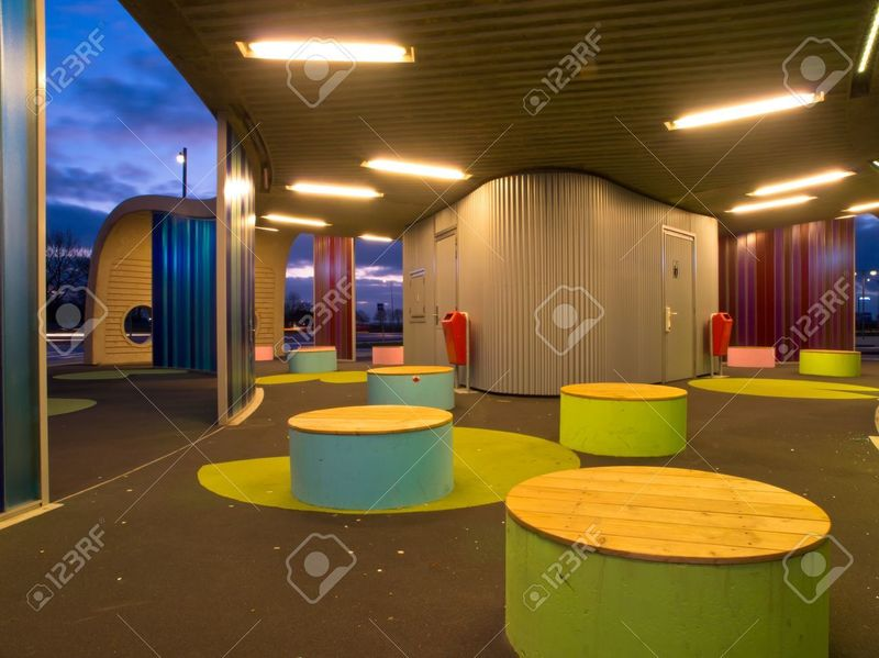 Modern Waiting Area Design, Waiting Area In Modern Dutch Design Busstation Stock Photo, Picture And Royalty Free Image. Image 12262179.