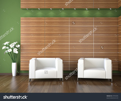 Interior Design Modern Waiting Room Wood Stock Illustration 29705305