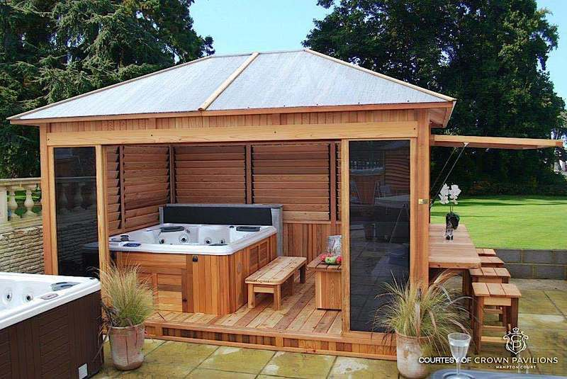 Hot Tub Encloser, Some Of The Hot Tub / Spa Enclosures Built With The Flex•Fence Hardware Kit Include A Louvered Cedar Spa Enclosure And An Arbour With Louvered Wall…