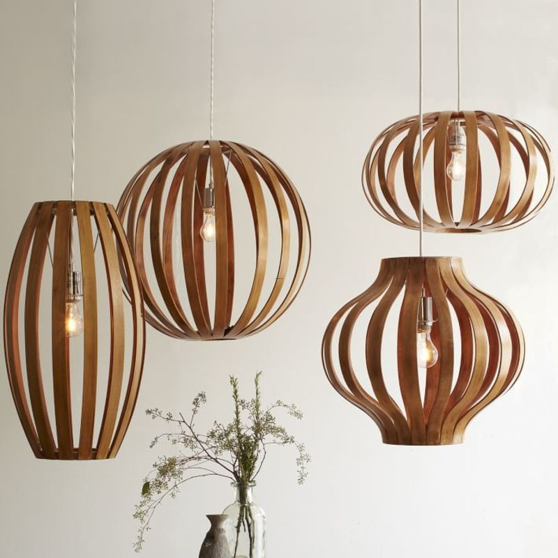 Midcentury Modern Wood Ceiling Lights, Bentwood Pendants