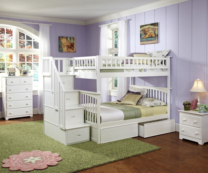 Girls Bunk Beds With Double Bed On Bottom, White Wooden Bunk Bed With Stairs And Having Drawers On The Bottom Side Completed With Blue White Bedding Sheet