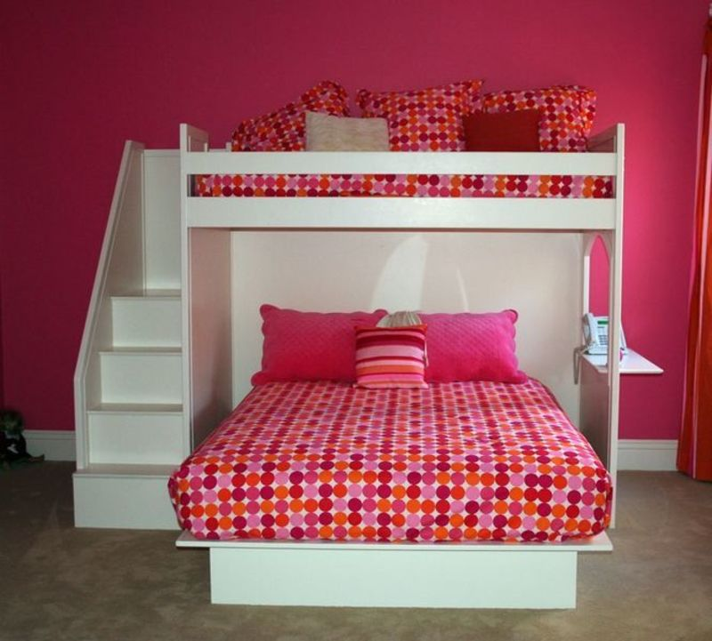 Girls Bunk Beds With Double Bed On Bottom, Queen Bed. Bunk Beds With Queen On Bottom