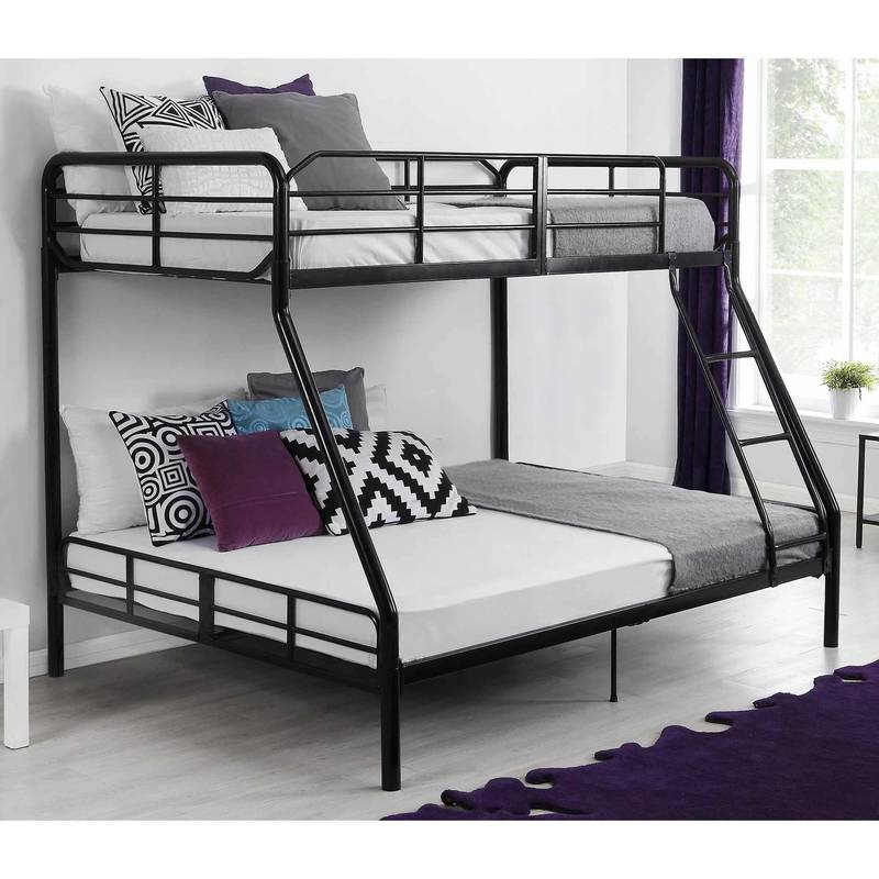 Girls Bunk Beds With Double Bed On Bottom, Your Zone Twin Over Full Wood Bunk Bed, Walnut