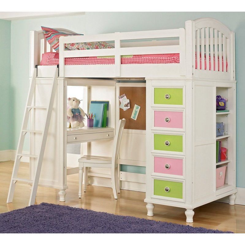 Girls Bunk Beds With Double Bed On Bottom, Bedroom