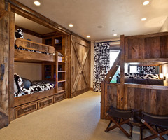 Chic Bunk Beds With Slide In Bedroom Rustic With Bunk Bed Ladder Next To Barn Door Closet Alongside Twin Over Full Bunk Bed And Gun Safe Hidden