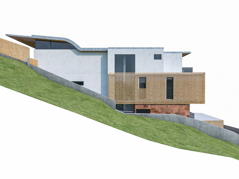 The House On The Terrain, 3 D Model Modern House On Terrain