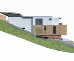 3 D Model Modern House On Terrain